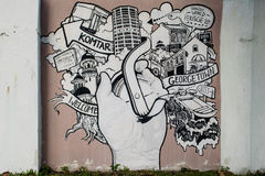 Stedelijke graffiti op de muur Stock Foto's