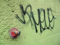 Stedelijke Groene Muur en Graffiti Stock Foto