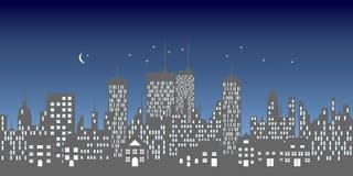 Stedelijke horizon met gebouwen en wolkenkrabbers Stock Fotografie