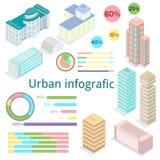 Stedelijke infografic De bouw bij isometrische mening Royalty-vrije Stock Afbeeldingen