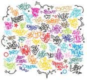 Stedelijke kunst en graffitimarkeringen, slogans Royalty-vrije Stock Fotografie