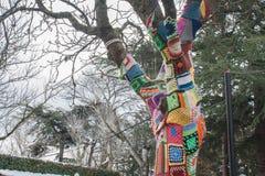 Stedelijke kunst op een boom met wol op de straten Royalty-vrije Stock Foto