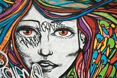 stedelijke kunst - vrouwengezicht Stock Foto