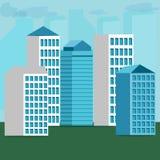 Stedelijke landschap en stads het levens Vectorillustratie Stock Foto's