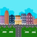 Stedelijke landschap en stads het levens Vectorillustratie Stock Fotografie