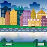 Stedelijke landschap en stads het levens Vectorillustratie Stock Afbeeldingen