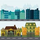 Stedelijke landschap en stads het levens Vectorillustratie Stock Foto