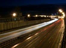 Stedelijke nachtverkeerslichten Stock Fotografie