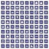 100 stedelijke pictogrammen geplaatst grunge saffier Stock Afbeeldingen