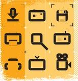 Stedelijke pictogrammen voor media Royalty-vrije Stock Fotografie