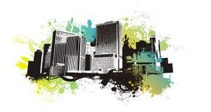 Stedelijke scape op grungeachtergrond Stock Afbeeldingen