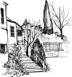 Stedelijke schets, huis in het park, vectorillustratie royalty-vrije illustratie
