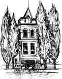 Stedelijke schets, huis in het park, vectorillustratie stock illustratie