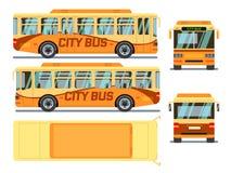 Stedelijke, stadsbus in verschillende meningsposities Vector illustratie Royalty-vrije Stock Afbeelding