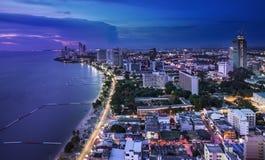 Stedelijke stadshorizon, Pattaya-baai en strand, Thailand stock foto's