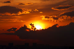 Stedelijke zonsondergang Stock Foto's