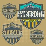 Steden van etiket de vastgestelde Missouri Royalty-vrije Stock Foto
