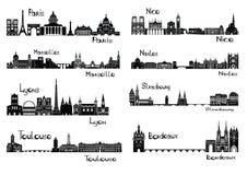 8 steden van Frankrijk Stock Afbeeldingen