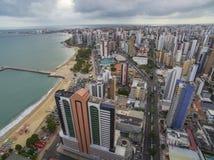 Steden van stranden in de wereld Stad van Fortaleza, staat van Ceara Brazilië Zuid-Amerika Het thema van de reis royalty-vrije stock foto