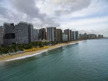 Steden van stranden in de wereld Stad van Fortaleza, staat van Ceara Brazilië Zuid-Amerika Het thema van de reis stock foto's