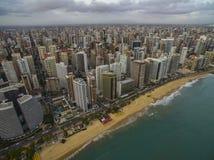 Steden van stranden in de wereld Stad van Fortaleza, staat van Ceara Brazilië Zuid-Amerika Het thema van de reis royalty-vrije stock afbeelding