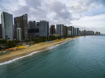 Steden van stranden in de wereld Stad van Fortaleza, staat van Ceara Brazilië Zuid-Amerika Het thema van de reis royalty-vrije stock fotografie