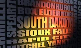 Stedenlijst de Zuid- van Dakota Stock Afbeeldingen