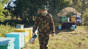 Stedicam shot of young beekeeper man smoking bees away from beehive in apiary stock video footage