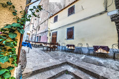 Steeg in Castelsardo royalty-vrije stock afbeeldingen