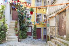 Steeg in oude stad porto Portugal Royalty-vrije Stock Afbeeldingen
