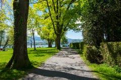 Steeg in park die tot het meer van Lausanne leiden Royalty-vrije Stock Fotografie