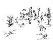 Steeg in park, vectorillustratie Stock Afbeelding