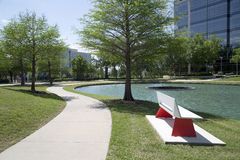 Steeg rond meer in Hall Park Frisco Stock Afbeelding