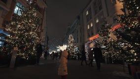 Steeg van bomen met slingerlichten bij de winterstraat die van de nachtstad worden verfraaid stock videobeelden