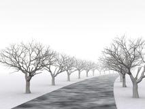 Steeg van bomen in nevelige nevel vector illustratie