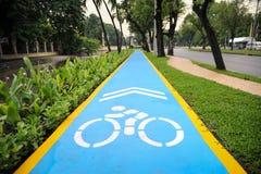 Steeg van de hemel de blauwe fiets op asfalt Stock Afbeelding
