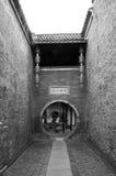 Steeg van de Tuin van Duitsland in YangZhou in Zwart & Wit Stock Fotografie