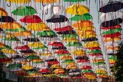 Steeg van paraplu's Installatie van een stadsdag in Soumi, de Oekraïne stock foto