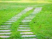 Steeg in weide gangweg in gras De de zomerlente de achtergrond van het richtingsconcept royalty-vrije stock foto