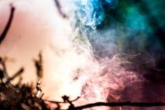 Steek de brand aan Macro van vuur, witte rook, hete, gloeiende steenkool en brand wordt geschoten die Stock Fotografie