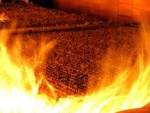Steek de verbranding van biomassa in de vorm van korrels in boi in brand Stock Foto's