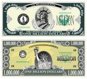 Steekproefbankbiljet van miljoen dollar Stock Afbeeldingen