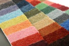 Steekproeven van kleur van tapijt het behandelen Stock Afbeelding