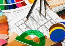 Steekproeven van materialenkleuren, stoffering en dekking Stock Foto's