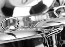 Steel. Stainless steel pans. low aperture, nice bokeh Royalty Free Stock Image