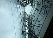 Steel. And glass structure with reflection Royalty Free Stock Images