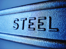 Steel. Close-up of steel sign on industrial forged wrench Stock Photo