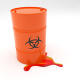 Steel 55 Gallon Drum Biohazard symbol leaking Stock Images