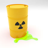 Steel 55 Gallon Drum Radiation symbol leaking Royalty Free Stock Images
