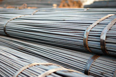 Steel. A tied bundle of cold steel bars on construction site Stock Images